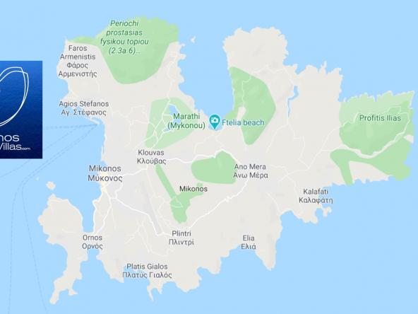Mykonos Top Villas Greece Map